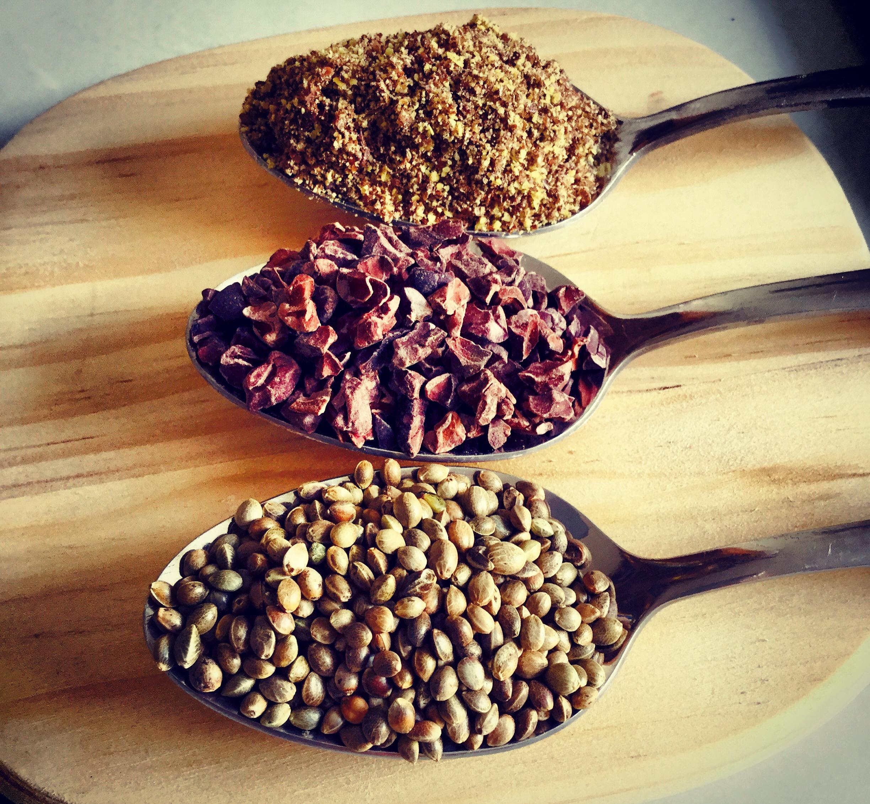hemp seed flax seed raw cacao