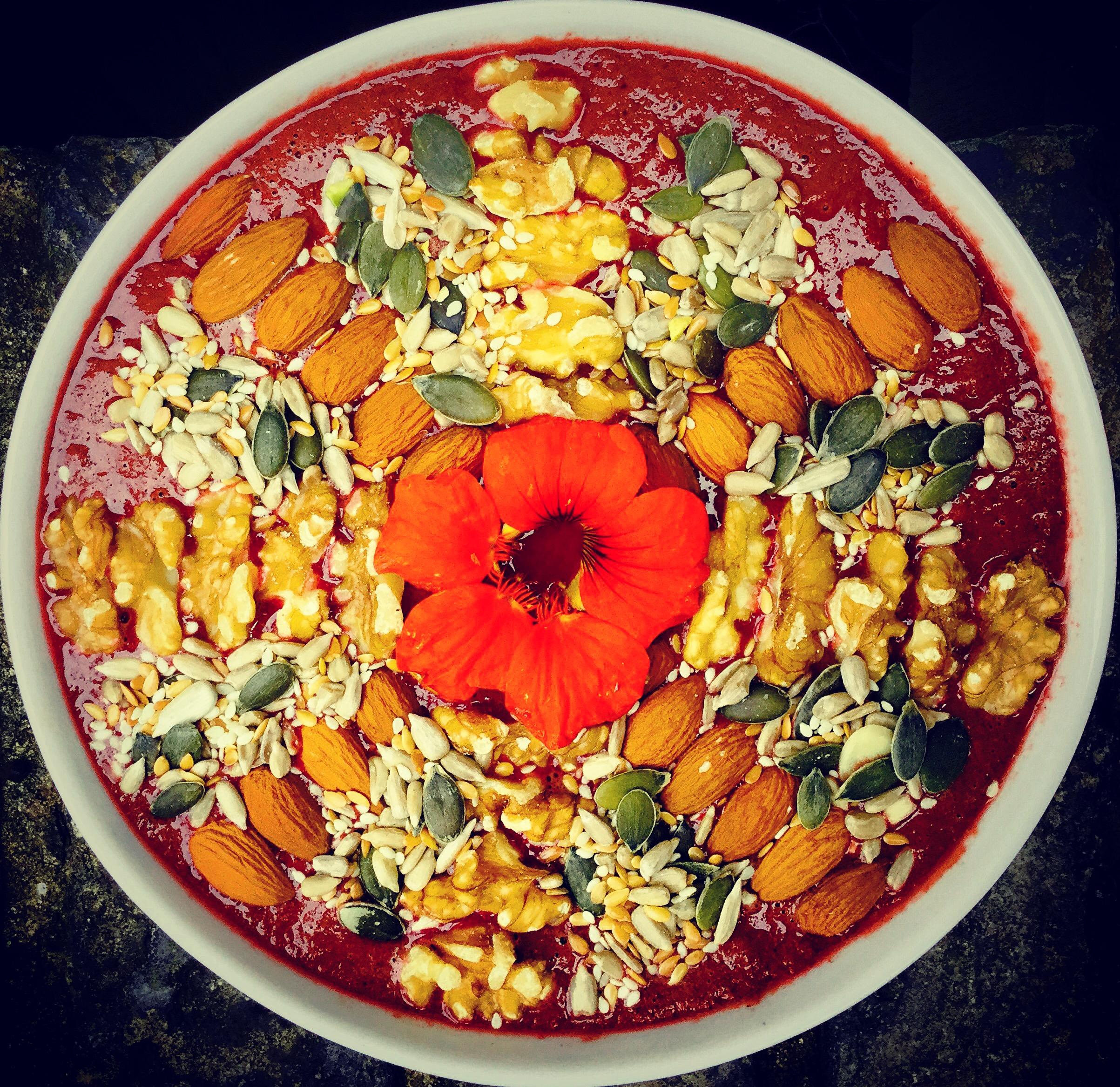 nutritious healthy autumn smoothie bowl